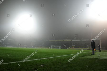 Fog hangs in the air over Huish Park during the Sky Bet League 2 Match between Yeovil Town and Cambridge United on 14 February at Huish Park, Yeovil, Somerset.  - PHOTO: Tom Sandberg/PPAUK
