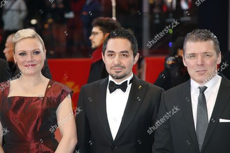 (L-R) Actors Nuppu Koivu, Sherwan Haji and Janne Hyytiainen arrive for the premiere of 'Toivon tuolla puolen' (The Other Side of Hope) during the 67th annual Berlin Film Festival, in Berlin, Germany, 14 February 2017. The movie is presented in the Official Competition at the Berlinale that runs from 09 to 19 February.