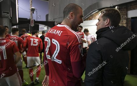 Pajtim Kasami of Nottingham Forest greets Scott Parker of Fulham in the tunnel area during the Sky Bet Championship match between Fulham and Nottingham Forest played at Craven Cottage, London on 14th February 2017