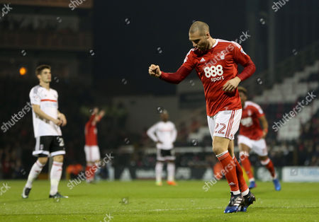 Pajtim Kasami of Nottingham Forest celebrates scoring the opening goal during the Sky Bet Championship match between Fulham and Nottingham Forest played at Craven Cottage, London on 14th February 2017