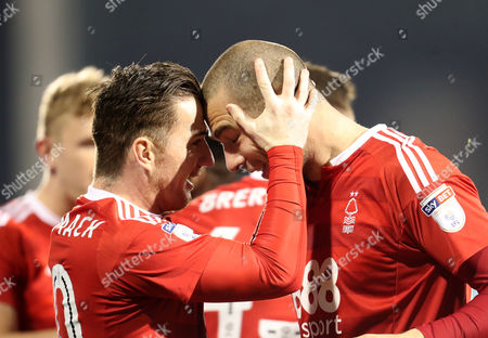 Former Fulham players Pajtim Kasami and Ross McCormack of Nottingham Forest celebrate scoring the opening goal during the Sky Bet Championship match between Fulham and Nottingham Forest played at Craven Cottage, London on 14th February 2017