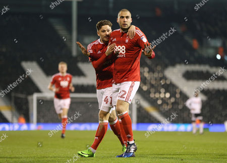 Pajtim Kasami of Nottingham Forest mutedly celebrates scoring the opening goal during the Sky Bet Championship match between Fulham and Nottingham Forest played at Craven Cottage, London on 14th February 2017