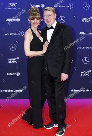 Stock Photo of Mika Hakkinen and Marketa Remesova