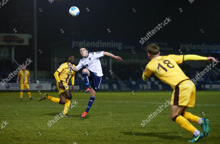John Rooney of Guiseley during the Vanarama National League match between Guiseley and Sutton United played at Nethermoor Park, Guiseley, on 14th February 2017