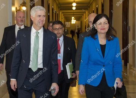 Judge Neil Gorsuch, left, Former US Senator Kelly Ayotte