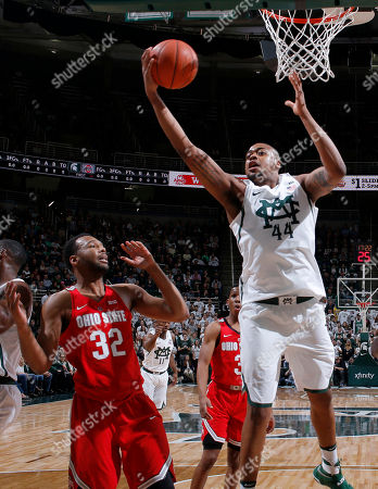 Nick Ward, Trevor Thompson Michigan State's Nick Ward, right, pulls down a rebound against Ohio State's Trevor Thompson (32) during the first half of an NCAA college basketball game, in East Lansing, Mich