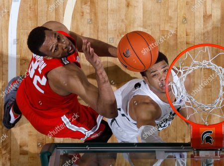 Miles Bridges, Trevor Thompson Michigan State's Miles Bridges, right, and Ohio State's Trevor Thompson eye a rebound during the second half of an NCAA college basketball game, in East Lansing, Mich. Michigan State won 74-66