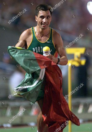 Budapest Hungary: Portuguese Antonio Pinto Celebrates with His Country Flag After Winning the Mens 10 000m Final at the European Athletics Championships in Budapest 18th August