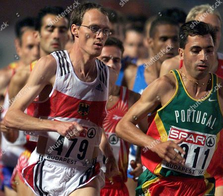 Budapest Hungary: Dieter Baumann (r) of Germany in Action with Portuguese Antonio Pinto During the 1000 M Final at the European Athletics Championships in Budapest 18th August