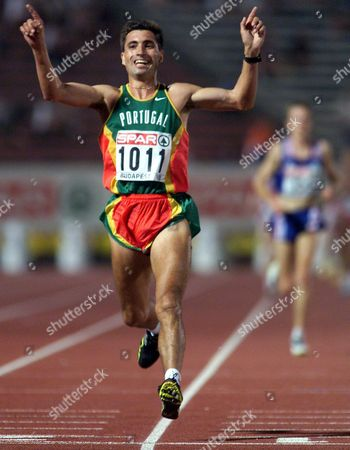 Budapest Hungary: Portuguese Antonio Pinto Jubilates After Winning the Men^s 10 000m at the European Athletics Championships in Budapest 18th August