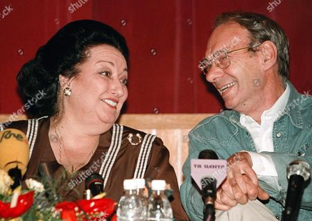 Moscow Russian Federation: Famous Spanish Opera Singer Monserrat Caballe Laughs Chating with Russian Film Actor Alexey Batalov During Her Press Conference in the Metropol Hotel in Moscow 29 July Monserrat Caballe Will Give a Charity Concert For Disabled Children on Sobornaya Square in Moscow 31 July