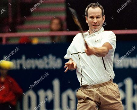 Zagreb Croatia: Us Tennis Veteran John Mcenroe Retyurns a Ball to Bjorn Borg of Sweden During on the Second Day of Atp Senior Tour of Champions Match in Zagreb 14 November Tennis Veterans Like John Mcenroe Bjorn Borg Henri Laconte Mats Wilander and Others Are Taking Part in the Charity Tournamet For Unicef