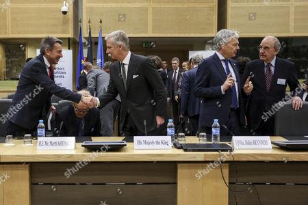 Peter Maurer, Martti Ahtisaari, King Philippe, Didier Reynders, George Mitchell