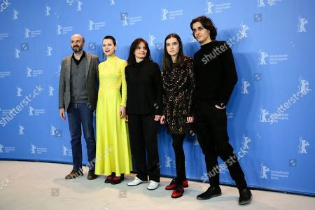 From left, actors Joao Pedro Vaz, Alice Albergaria Borges, director Teresa Villaverde, actress Clara Jost and actor Tomas Gomes pose for the photographers during a photo call for the film 'Colo' at the 2017 Berlinale Film Festival in Berlin, Germany