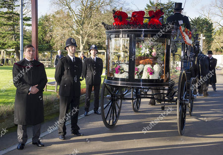 Stock Photo of The Funeral Of Britains Best Known Madam Cynthia Payne Which Took Place At South London Crematium Today 9th December 2015.