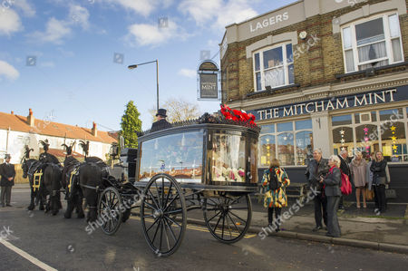 Editorial photo of The Funeral Of Britains Best Known Madam Cynthia Payne Which Took Place At South London Crematium Today 9th December 2015.