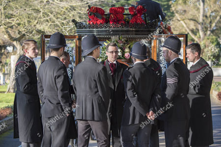 Stock Image of The Funeral Of Britains Best Known Madam Cynthia Payne Which Took Place At South London Crematium Today 9th December 2015.