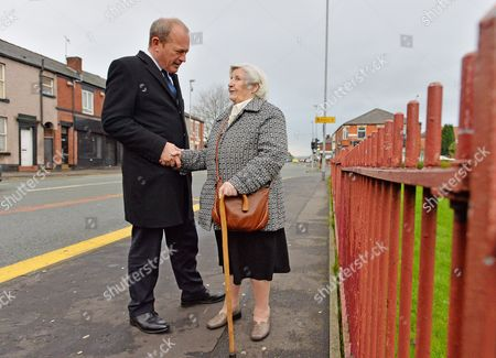Editorial photo of Suspended Rochdale Mp Simon Danczuk Meets Local Resident Margaret Keane On The Streets Of Rochdale. Greater Manchester.-.