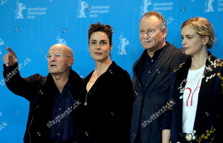 From left, director Volker Schloendorff, actress Susanne Wolff, actor Stellan Skarsgard and actress Nina Hoss pose for the photographers during a photo call for the film 'Return to Montauk' at the 2017 Berlinale Film Festival in Berlin, Germany