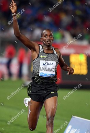 Elijah Motonei Manangoi of Kenya Celebrates After Winning the Men's 1500m Race at the Golden Gala Pietro Mennea Athletics Meeting As Part of the Iaaf Diamond League at the Olympic Stadium in Rome Italy 02 June 2016 Italy Rome