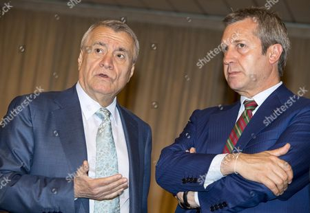 Minister of Energy of the Republic of Azerbaijan Natiq Aliyev (l) and Italian Under Secretary of State For Foreign Affairs and International Cooperation Benedetto Della Vedova During the Italy-azerbaijan Business Forum at the Farnesina Palace in Rome Italy 13 June 2016 Italy Rome