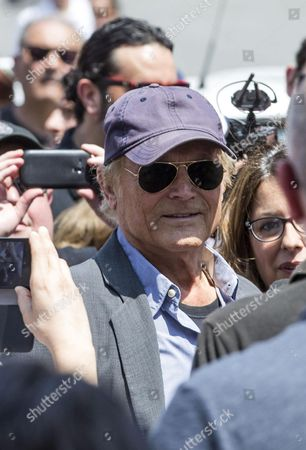Italian Actor Terence Hill Spencer's Partner in Many Movies Pays Their Respects to Italian Actor Carlo Pedersoli Also Known As Bud Spencer out of the Chiesa Degli Artisti in Rome Italy 30 June 2016 Pedersoli Died on 27 June 2016 at 86 Years Old Italy Rome