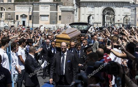 Guests Pay Their Respects to Italian Actor Carlo Pedersoli Coffin Also Known As Bud Spencer out of the Chiesa Degli Artisti in Rome Italy 30 June 2016 Pedersoli Died on 27 June 2016 at 86 Years Old Italy Rome