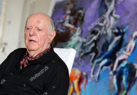 Italian Nobel Prize-winning Playwright Dario Fo Speaks During an Interview with at His House in Milan Italy 13 April 2016 Fo Spoke Openly in Memory of the Five-star Movement's Co-founder Gianroberto Casaleggio who Died 12 April in Milan Aged 61 Italy Milan