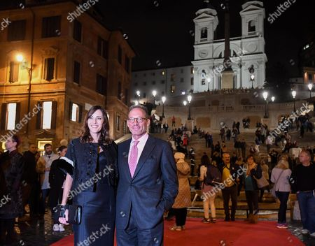 Cecilia and Anthony Peck Daughter and Son of Us Actor Gregory Peck Pose For a Photo in Front of the Spanish Steps Below the Church of the Santissima Trinit? Dei Monti in the Centre of Rome Italy 18 October 2016 Italy Rome