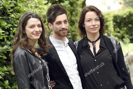 Stock Picture of (l-r) Italian Actors/cast Members Francesca Pasquini Moise' Curia and Stefania Rocca Pose For Photographs During the Photocall For the Movie 'Abbraccialo Per Me' (lit Embrace Him For Me) in Rome Italy 13 April 2016 the Movie Will Be Released in Italian Theaters on 21 April Italy Rome (italy)