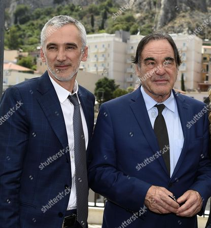 Us Director Oliver Stone (r) and Ukraine's Director Igor Lopatonok (l) Pose For Photographers After the 'Tao Class' For the Movie 'Ukraine on Fire' with Students As Part of the 62nd Annual Taormina Film Festival Taormina Sicily Island Italy 16 June 2016 the Festival Runs From 11 to 18 June Italy Taormina