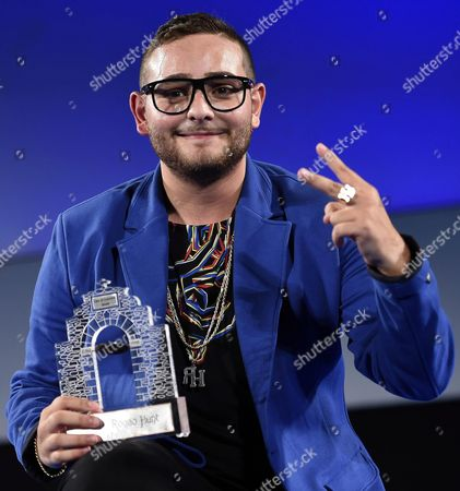 Italian Singer Rocco Hunt Recives the 'Taormina City Award' During a Ceremony at the Teatro Antico As Part of the 62nd Annual Taormina Film Festival Taormina Sicily Island Italy Late 16 June 2016 the Festival Runs From 11 to 18 June Italy Taormina