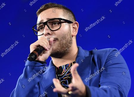 Italian Singer Rocco Hunt Performs on the Stage During a Ceremony at the Teatro Antico As Part of the 62nd Annual Taormina Film Festival Taormina Sicily Island Italy Late 16 June 2016 the Festival Runs From 11 to 18 June Italy Taormina