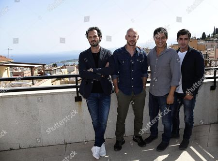 (l-r) Italian Actors Fabio Troiano Filippo Nigro Emilio Solfrizzi and Carmine Recano Pose During a Press Conference For the New Fiction Tv Canale 5 'House Housbands' As Part of the 62nd Annual Taormina Film Festival Taormina Sicily Island Italy 18 June 2016 the Festival Runs From 11 to 18 June Italy Taormina
