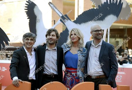 (l-r) Italian Actors Vincenzo Salemme Federico Russo and Alessia Marcuzzi with Us Animator and Film Director Doug Sweetland Arrive For the Premiere of 'Cicogne in Missione' at the 11th Annual Rome Film Festival in Rome Italy 16 October 2016 the Festival Running From 13 to 23 October Italy Rome