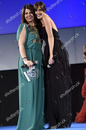 Italian Actress Geppi Cucciari (l) Receives the 'Taormina Arte Award' From Spanish Actress Rocio Munoz Morales (r) During a Ceremony at the Teatro Antico As Part of the 62nd Annual Taormina Film Festival in Taormina Sicily Island Italy Late 18 June 2016 the Festival Runs From 11 to 18 June Italy Taormina
