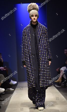 Stock Picture of A Model Presents a Creation From the Fall-winter 2016/2017 Collection by Chinese Designer Miao Ran During the Altaromaaltamoda Fashion Week in Rome Italy 29 January 2016 the Altaroma Runs From 29 to 31 January Italy Rome