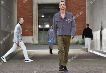 A Model Presents Creations by Gosha Rubchinskiy the Pitti Immagine Uomo in Florence Italy 15 June 2016 the Fashion Exhibition For Men's Clothing and Accessory Collections Which is Held Twice a Year Runs Until 17 June Italy Florence