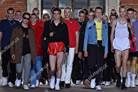 Models Present Creations by Gosha Rubchinskiy the Pitti Immagine Uomo in Florence Italy 15 June 2016 the Fashion Exhibition For Men's Clothing and Accessory Collections Which is Held Twice a Year Runs Until 17 June Italy Florence