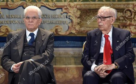 Italian President Sergio Mattarella (l) and Italian Cinema Critic Gianluigi Rondi (r) During the Presentation of the David Di Donatello Award 2016 at the Quirinale Palace in Rome Italy 18 April 2016 the David Di Donatello Award is a Film Prize Presented Annually to Honour the Best of Italian and Foreign Motion Picture Productions Italy Rome