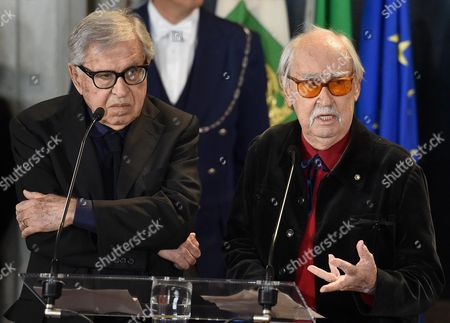 Italian Directors Vittorio Taviani (r) and Paolo Taviani Attend the Presentation of the David Di Donatello Award 2016 at the Quirinale Palace in Rome Italy 18 April 2016 the David Di Donatello Award is a Film Prize Presented Annually to Honour the Best of Italian and Foreign Motion Picture Productions Italy Rome