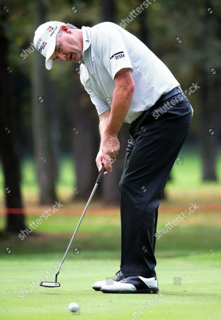 Scotland's Paul Lawrie Plays a Shot on the First Day of the Italian Open Golf Tournament at the Golf Club Milano Golf Course in Milan Italy 15 September 2016 Italy Milan
