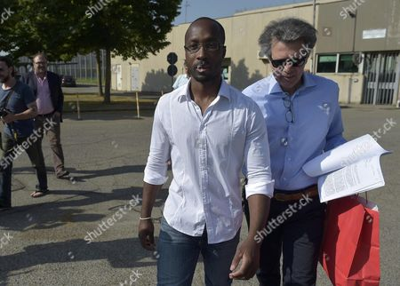 Rudy Guede (l) Leaves Viterbo's Prison to Go to the Gavac Volunteer Centre For Prisoner Assistance in Viterbo 25 June 2016 Guede Convicted in 2008 of the Murder of British Student Meredith Kercher and Currently Serving a 16-year Sentence at a Prison on the Outskirts of Viterbo Has Been Granted a 36-hour Release That Starts Saturday Morning Guede who Has Maintained His Innocence Will Stay at the Gavac Volunteer Centre For Prisoner Assistance in Viterbo Through the Weekend and Return to Prison by 9pm on Sunday He is the Only Person Convinced of the 2007 Murder After American Amanda Knox and Her Italian Former Boyfriend Raffaele Sollecito Were Acquitted Last Year Italy Viterbo