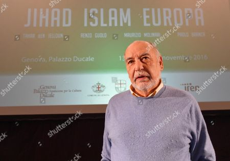 French-moroccan Novelist and Poet Tahar Ben Jelloun Author of the Book 'Terrorism Explained to Our Children' Attends the Meeting 'Jihad Islam Europe' at Ducale Palace in Genoa Italy 13 October 2016 Italy Genova