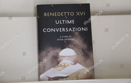 The Book 'Ultime Conversazioni' (final Conversations) Written by Joseph Ratzinger Or Pope Benedict Xvi is on Display in a Shop in Rome Italy 09 September 2016 the Book is an Interview Conducted by German Journalist Peter Seewald and is Published by Italian Publisher Garzanti Italy Rome
