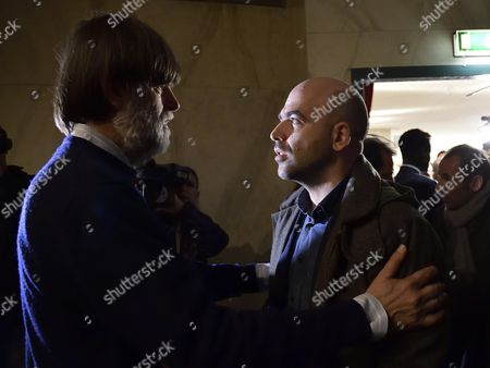 Stock Photo of Italian Writer Roberto Saviano (r) Talks with Jacopo Fo (l) Son of Late Dario Fo Italian Writer Actor Political Campaigner and Recipient of the Nobel Prize in Literature at a Mortuary Chapel in Milan Italy 15 October 2016 Fo Died at Age 90 in Milan Italy Milan