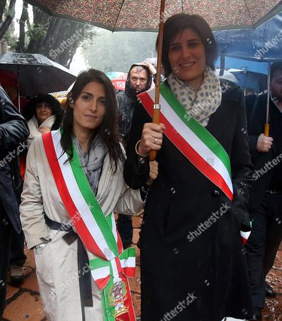 Stock Picture of Turin Mayor Chiara Appendino (r) and Rome Mayor Virginia Raggi Attend the Funeral of Italian Playwright and 1997 Nobel For Literature Winner Dario Fo Outside Milan's Duomo Gothic Cathedral in Milan Italy 15 October 2016 Fo Died at Age 90 in Milan Italy Milan