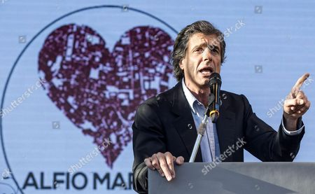 Alfio Marchini Rome Mayoral Candidaye For Center-right Forza Italia Speaks During an Election Campaign Rally in Ostia (rome) Italy 03 June 2016 Municipal Elections Will Be Held in Milan Rome and Other Italian Major Cities on 05 June Italy Rome