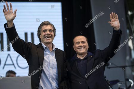 Alfio Marchini (l) Rome Mayoral Candidate For Center-right Forza Italia with Party Leader Silvio Berlusconi (r)during an Election Campaign Rally in Ostia (rome) Italy 03 June 2016 Municipal Elections Will Be Held in Milan Rome and Other Italian Major Cities on 05 June Italy Rome