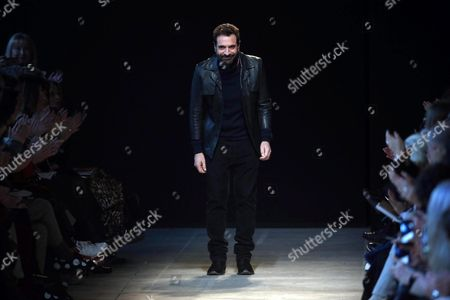 Italian Designer Ennio Capasa Appears on the Runway After Presenting His Creations For the Label Costume National During the Milan Fashion Week in Milan Italy 25 February 2016 the Fall-winter 2016/2017 Women's Collections Are Presented at the Milano Moda Donna From 24 to 29 February Italy Milan